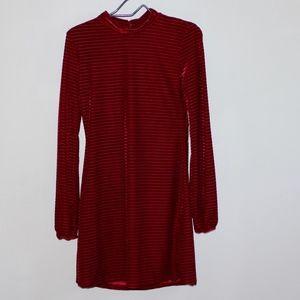 Lulus Black and Red Stripped Velvet Long sleeve